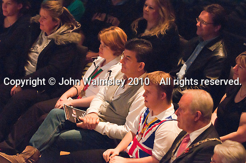 """Special guests, local dignitaries and actor, John Altman, """"Nasty Nick"""" from TV's """"East Enders"""", watching the show.  Special Olympics Surrey put on a show,   """"Beyond the Stars"""", at the Rose Theatre, Kingston upon Thames to raise money for the  SOGB team.  The Special Olympics are for athletes with learning disabilities."""