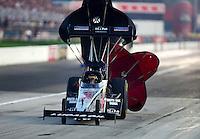 Sept. 1, 2012; Claremont, IN, USA: NHRA top fuel dragster driver Chris Karamesines during qualifying for the US Nationals at Lucas Oil Raceway. Mandatory Credit: Mark J. Rebilas-