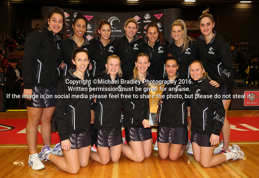 17.09.2016 Silver Ferns after the Taini Jamison netball match between the Silver Ferns and Jamaica played at the Energy Events Centre in Rotorua. Mandatory Photo Credit ©Michael Bradley.