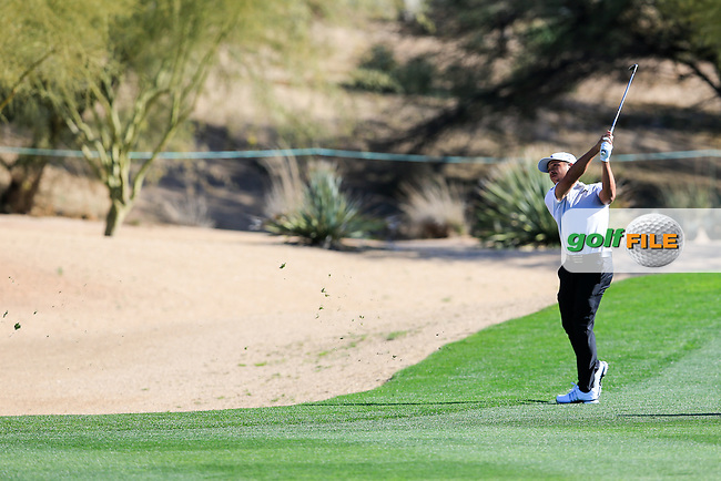 Xander Schauffele (USA) on the 3rd during the 2nd round of the Waste Management Phoenix Open, TPC Scottsdale, Scottsdale, Arisona, USA. 01/02/2019.<br /> Picture Fran Caffrey / Golffile.ie<br /> <br /> All photo usage must carry mandatory copyright credit (&copy; Golffile | Fran Caffrey)