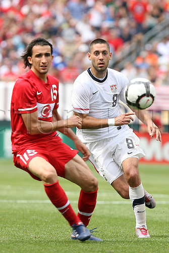 29 May 2010: Clint Dempsey (USA) (8) and Mehmet Topal (TUR) (15). The United States Men's National Team defeated the Turkey Men's National Team 2-1 at Lincoln Financial Field in Philadelphia, Pennsylvania in the final home warm up match to the 2010 FIFA World Cup in South Africa.