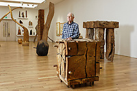 Pictured: David Nash. Wednesday 01 May 2019<br /> Re: Exhibition of sculptor David Nash at the National Museum of Wales in Cardiff, Wales, UK.
