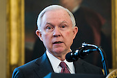 Attorney General Jeff Sessions speaks after Vice President Mike Pence swore Sessions in as the next attorney general in the Oval Office of the White House in Washington, DC, USA, 09 February 2017. On 08 February, after a contentious battle on party lines, the Senate voted to confirm Sessions as attorney general.<br /> Credit: Jim LoScalzo / Pool via CNP