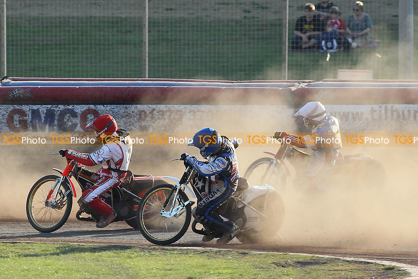 Heat 17: The dust flies on a hot afternoon - FIM Speedway World Under-21 Team Cup Semi Final at Arena Essex Raceway, Purfleet - 27/05/12 - MANDATORY CREDIT: Gavin Ellis/TGSPHOTO - Self billing applies where appropriate - 0845 094 6026 - contact@tgsphoto.co.uk - NO UNPAID USE.