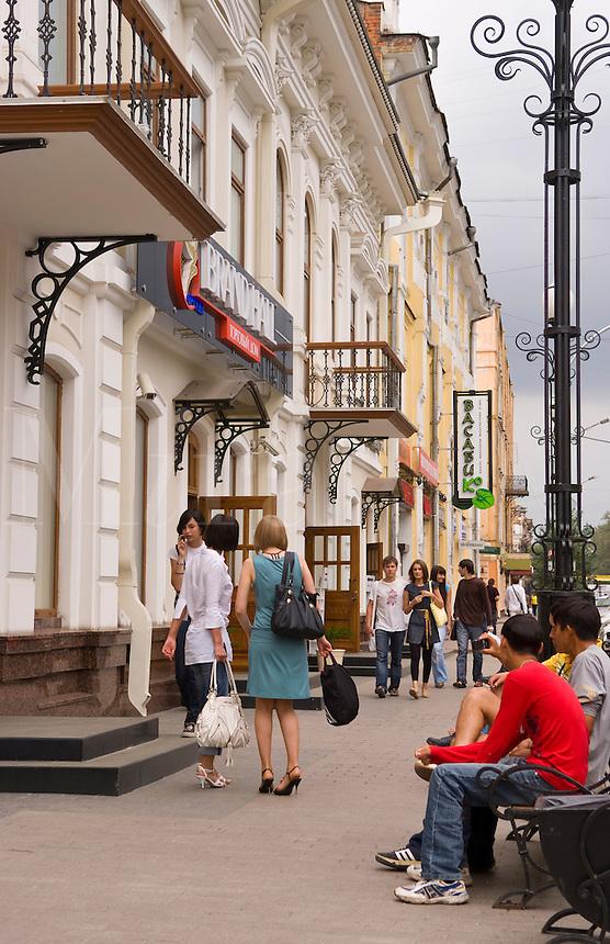Shopping in colorful main street in Irkutsk, Siberia, Russia