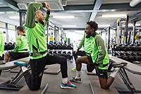 Matt Grimes and Nathan Dyer of Swansea City in the gym during the Swansea City Training Session at The Fairwood Training Ground in Swansea, Wales, UK. Wednesday 16 October 2019