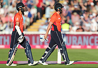 England's Moeen Ali and Jonny Bairstow at the end of their innings<br /> <br /> Photographer Andrew Kearns/CameraSport<br /> <br /> Only IT20 - Vitality IT20 Series - England v Australia - Wednesday 27th June 2018 - Edgbaston - Birmingham<br /> <br /> World Copyright &copy; 2018 CameraSport. All rights reserved. 43 Linden Ave. Countesthorpe. Leicester. England. LE8 5PG - Tel: +44 (0) 116 277 4147 - admin@camerasport.com - www.camerasport.com