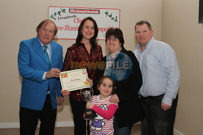 Fiona and Aoife Hallinan accept their award from judges Frank Godfrey, Caroline Kavanagh and John Hendrick at the Christmas Illumination Awards in the d Hotel...(Photo credit should read Jenny Matthews/www.newsfile.ie)....This Picture has been sent you under the conditions enclosed by:.Newsfile Ltd..The Studio,.Millmount Abbey,.Drogheda,.Co Meath..Ireland..Tel: +353(0)41-9871240.Fax: +353(0)41-9871260.GSM: +353(0)86-2500958.email: pictures@newsfile.ie.www.newsfile.ie.
