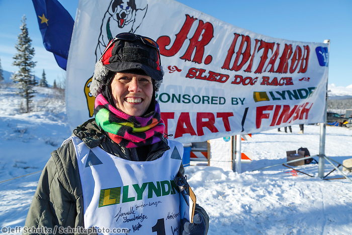 2015  honorary musher  Jayne Hempstead, DVM at the start of the Junior Iditarod  on Sunday March 1, 2015. <br /> <br /> <br /> <br /> (C) Jeff Schultz/SchultzPhoto.com - ALL RIGHTS RESERVED<br />  DUPLICATION  PROHIBITED  WITHOUT  PERMISSION