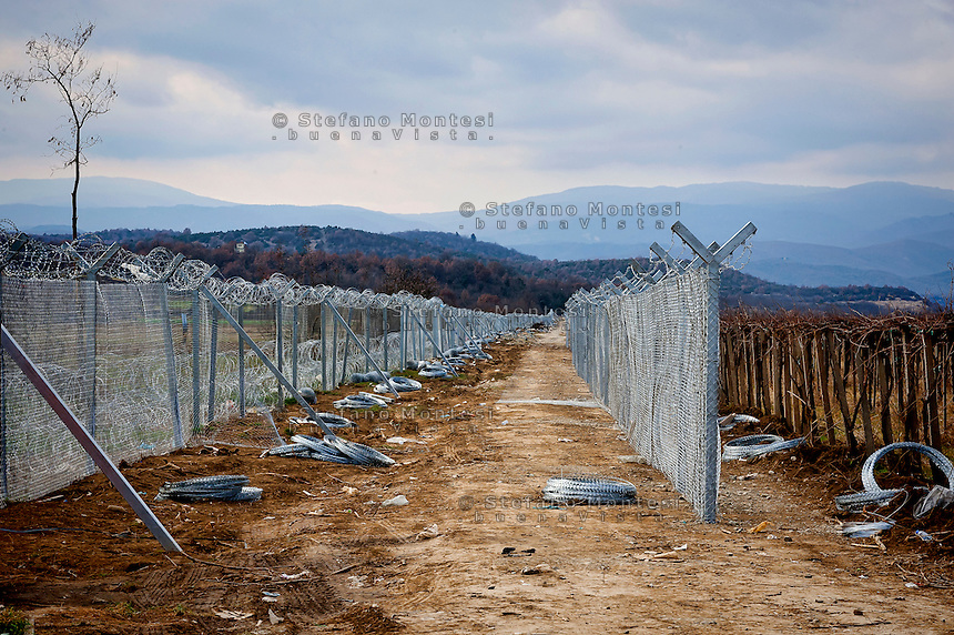 The fence view from Republic of Macedonia in land  rolls to build a second fence in Idomeni, 8 Febraury 2016.<br /> Hundreds of refugees arrive at Idomeni and cross the border between Greece and Macedonian on their journey to North Europe.