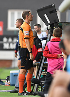 KORTRIJK , BELGIUM - AUGUST 03 : referee Jan Boterberg pictured  consulting the VAR during the Jupiler Pro League match day 2 between Kv Kortrijk and Sporting Charleroi on August 03 , 2019 in Kortrijk , Belgium . ( Photo by David Catry / Isosport )