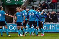 Amari'i Bell of Fleetwood Town (far right) celebrates scoring his side's second goal during the Sky Bet League 1 match between Plymouth Argyle and Fleetwood Town at Home Park, Plymouth, England on 7 October 2017. Photo by Mark  Hawkins / PRiME Media Images.