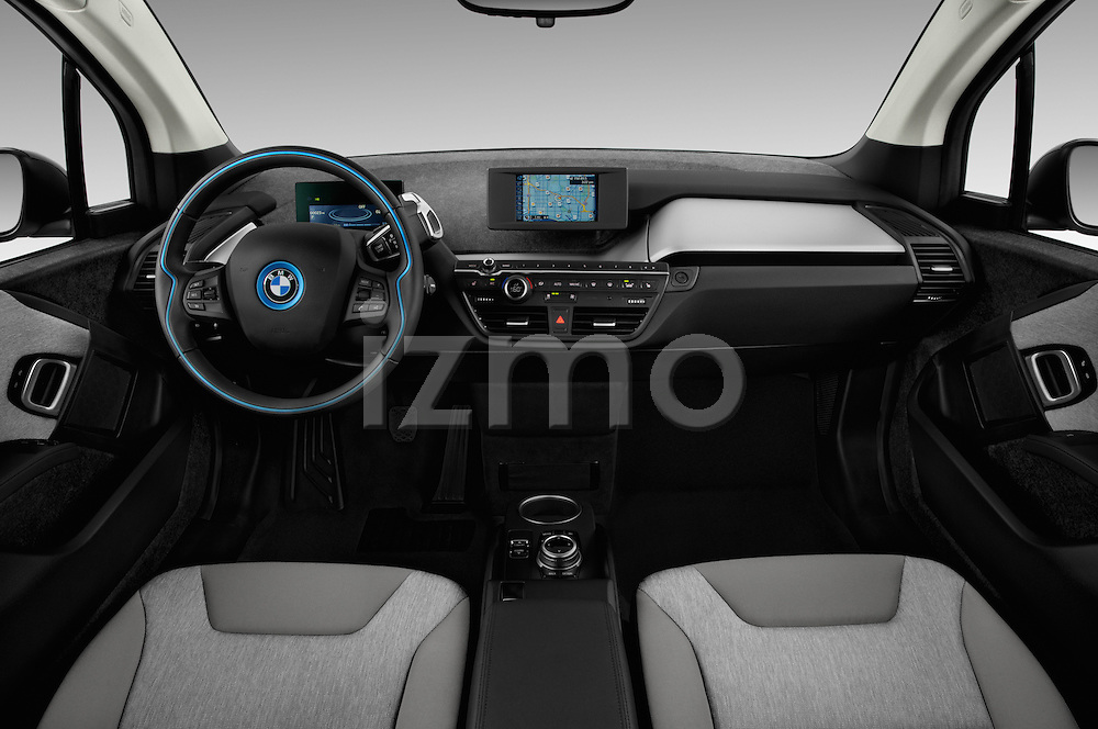 Stock photo of straight dashboard view of 2017 BMW I3 Deka-World 5 Door Hatchback Dashboard