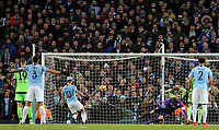 Manchester City's Sergio Aguero scores the opening goal<br /> Photographer Rich Linley/CameraSport<br /> <br /> UEFA Champions League Round of 16 Second Leg - Manchester City v FC Schalke 04 - Tuesday 12th March 2019 - The Etihad - Manchester<br />  <br /> World Copyright © 2018 CameraSport. All rights reserved. 43 Linden Ave. Countesthorpe. Leicester. England. LE8 5PG - Tel: +44 (0) 116 277 4147 - admin@camerasport.com - www.camerasport.com