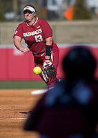 NWA Democrat-Gazette/JASON IVESTER<br /> Arkansas pitcher Grace Moll delivers a pitch Friday, March 3, 2017, against Nebraska at Bogle Park in Fayetteville. Moll pitched a shutout complete game giving up two hits.