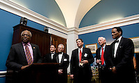 US Representative James Clyburn welcomes people to a reception hosted by him at the US Capitol prior to the US Soccer Foundation Gala held at City Center in Washington, DC.