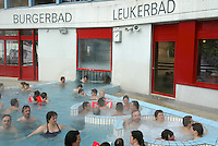 Switzerland. Canton of Wallis. Leukerbad. Leukerbad, also called Loèche-Les-Bains, is the ideal place for health-conscious guests. With its health centre like the Burgerbad, featuring Europe's largest alpine thermal bath facilities, the area beckons guests to rest and relax. Each day, some 3.9 million litres of water flow from the Leukerbad springs to various baths. An elixir of life is Valais water, where tourists and locals immerse themselves in an inexhaustible source of well-being. © 2005 Didier Ruef