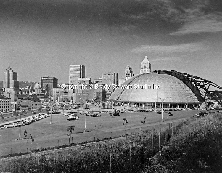 Pittsburgh PA: Pittsburgh's new Civic Arena Construction - 1963.  On location photography for the Civic Light Opera,  the building's primary tenant. Pittsburgh Mayor Joseph M. Barr and Hornets owner John Harris (founder of the Ice Capades) made the skating show the feature act of the Civic Arena's grand opening on September 19, 1961.