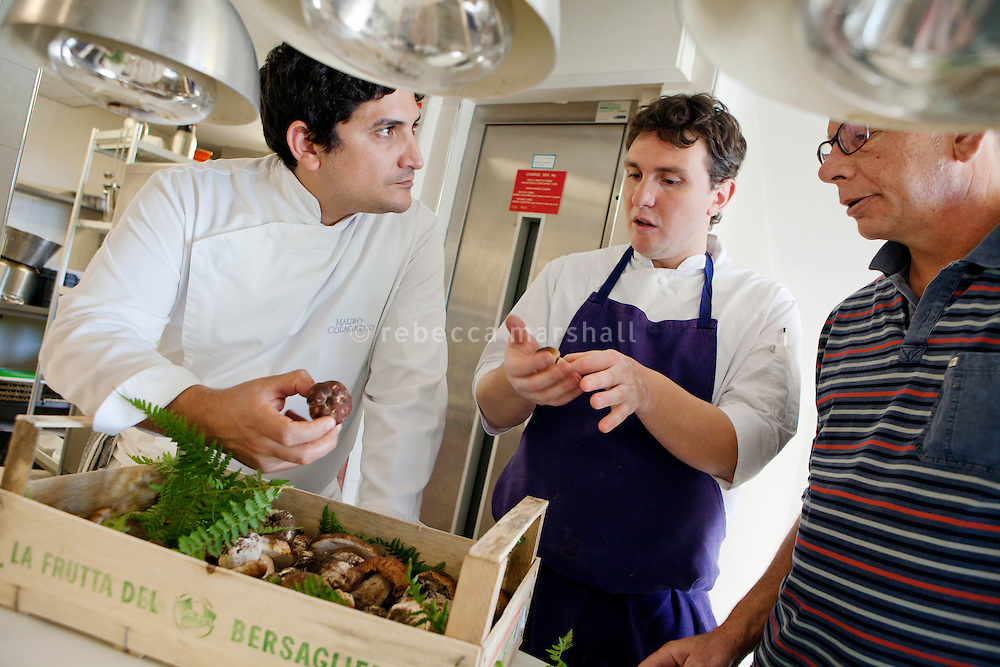Cèpes mushrooms, picked from the wild in Italy, are delivered to restaurant Mirazur, Menton, France, 18 September 2013. Chef Mauro Colagreco and Sous-chef Marcello examine the produce.