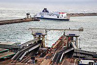 Very little sign of anything other than lorry freight at Dover terminal. No foot passengers or cars appear to be embarking or disembarking with the recent need to self isolate when travelling home from France seemingly hitting Dover hard.<br /> The UK's major cross channel ferry port has been hit TWICE this year. Firstly the continued uncertainty over how Brexit will affect our European trading and now the Covid-19 quarantine restrictions that were put in place a fortnight ago. Dover, Kent, UK September 3rd 2020<br /> <br /> Photo by Keith Mayhew