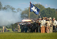 NWA Democrat-Gazette/BEN GOFF @NWABENGOFF<br /> Confederate soldiers fire a volley at the union army on Friday Sept. 25, 2015 during the Battle of Pea Ridge Civil War reenactment at Webb Farm near Pea Ridge. The event continues with battle reenactments at 2:00p.m. on Saturday and at 11:00a.m. Sunday.