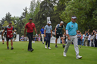 Louis Oosthuizen (RSA), Tiger Woods (USA), a d Tommy Fleetwood (ENG) head down 18 during round 4 of the World Golf Championships, Mexico, Club De Golf Chapultepec, Mexico City, Mexico. 2/24/2019.<br /> Picture: Golffile | Ken Murray<br /> <br /> <br /> All photo usage must carry mandatory copyright credit (© Golffile | Ken Murray)