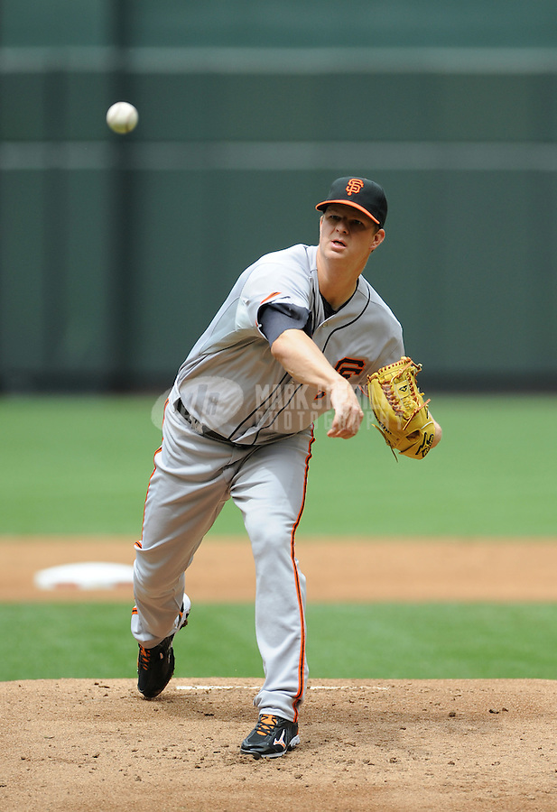 Apr. 8, 2012; Phoenix, AZ, USA; San Francisco Giants pitcher Matt Cain throws in the first inning against the Arizona Diamondbacks at Chase Field. Mandatory Credit: Mark J. Rebilas-