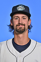 Asheville Tourists pitcher Daniel Koger (28) poses for a photo at Story Point Media on April 5, 2016 in Asheville, North Carolina. (Tony Farlow/Four Seam Images)