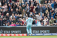 Jonny Bairstow (England) celebrates in front of the crowd following his catch to dismiss Chris Gayle (West Indies) during England vs West Indies, ICC World Cup Cricket at the Hampshire Bowl on 14th June 2019