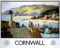 BNPS.co.uk (01202 558833)<br /> Pic: DavidLayFRICS/BNPS<br /> <br /> A GWR Poster promoting Cornwall<br /> <br />  A wonderful collection of vintage British travel posters celebrating the golden age of the seaside getaway have emerged for sale for £15,000.<br /> <br /> The posters were produced by Great Western Railway and British Railways between the 1930s to the 1960s to encourage Brits to holiday on the Cornish coast.<br /> <br /> One striking Art Deco poster issued by Great Western Railway shows a lady in an orange swimsuit at Newquay with surfers in the background. <br /> <br /> It describes the popular holiday destination as 'Cornwall's first Atlantic resort'.<br /> <br /> The collection of about 30 posters has been put together by a private collector over the past two decades who is now selling them with auction house David Lay FRICS, of Penzance, Cornwall.