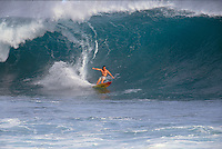 Big wave surfer Ross Clarke Jones (AUS) surfing the lefthander Mataveri during a visit to Easter Island, Chile. Circa 1993. Photo: joliphotos.com
