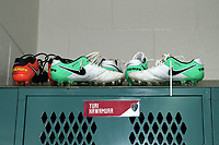 Cary, North Carolina  - Saturday June 03, 2017: Boots above the locker of injured player Yuri Kawamura in the Courage locker room prior to a regular season National Women's Soccer League (NWSL) match between the North Carolina Courage and the FC Kansas City at Sahlen's Stadium at WakeMed Soccer Park. The Courage won the game 2-0.