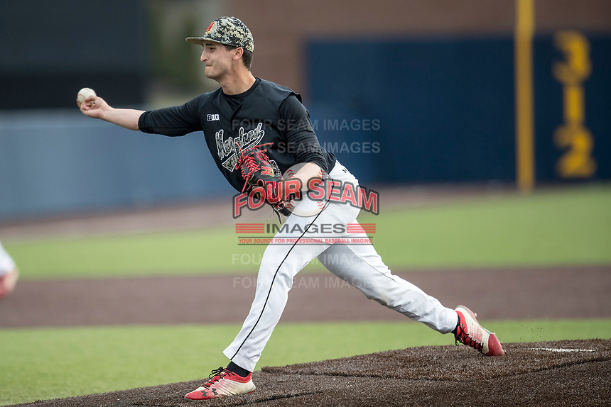 Maryland Terrapins pitcher Elliott Zoellner (29) delivers a pitch to the plate against the Michigan Wolverines on April 13, 2018 in a Big Ten NCAA baseball game at Ray Fisher Stadium in Ann Arbor, Michigan. Michigan defeated Maryland 10-4. (Andrew Woolley/Four Seam Images)