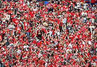 Ohio State Buckeyes mascot Brutus Buckeye crowd surfs through the student section during the NCAA football game against the Rutgers Scarlet Knights at Ohio Stadium in Columbus on Oct. 1, 2016. Ohio State won 58-0. (Adam Cairns / The Columbus Dispatch)