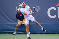 Washington, DC - August 3, 2019: Horia Tecau (ROU) hits the ball during the  Men Doubles semi finals at William H.G. FitzGerald Tennis Center in Washington, DC  August 3, 2019.  (Photo by Elliott Brown/Media Images International)
