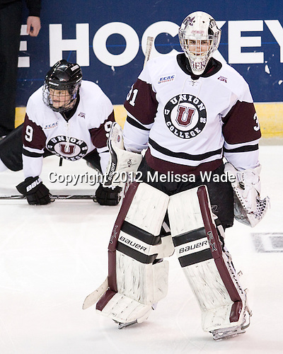 Dillon Pieri (Union - 31) - The Union College Dutchmen defeated the Michigan State University Spartans 3-1 in their NCAA East Regional semifinal on Friday, March 23, 2012, at the Webster Bank Arena in Bridgeport, Connecticut.
