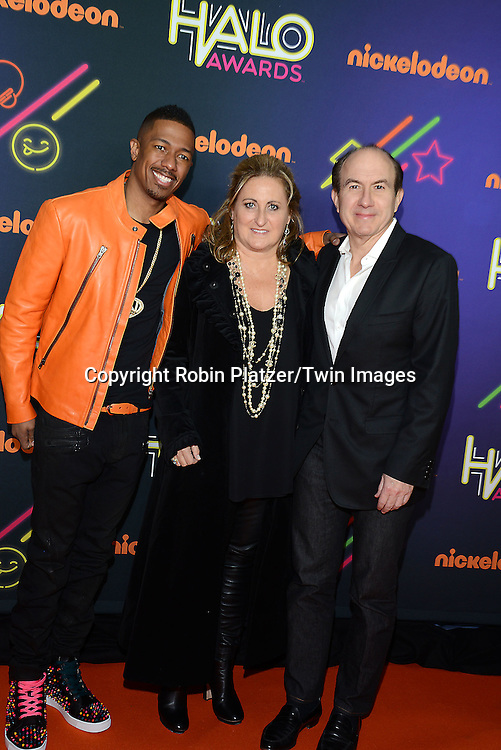 Nick Cannon, Cyma Zarghami and Philippe Dauman attend the 6th Annual Nickelodeon Halo Awards on November 15, 2014 at Pier 36 in New York City. <br /> <br /> photo by Robin Platzer/Twin Images<br />  <br /> phone number 212-935-0770