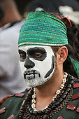 A Guatemalan indigenous man with face paint for the Day for the Dead at the first ever International Indigenous Games, in the city of Palmas, Tocantins State, Brazil. Photo © Sue Cunningham, pictures@scphotographic.com 22nd October 2015