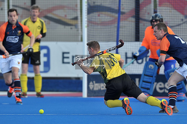 PAINTER Jon (Norwich City) dives to have a shot. Norwich City v Old Cranleighans (Men's Over 40's Shield Final). Pitch 2. Men's Knockout Finals 2017. Lee Valley Hockey and Tennis Centre. London. UK. 29/04/2017. ~ MANDATORY CREDIT Garry Bowden/SIPPA - NO UNAUTHORISED USE - +44 7837 394578