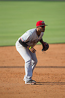 Hickory Crawdads third baseman Josh Morgan (3) on defense against the Kannapolis Intimidators at CMC-Northeast Stadium on May 21, 2015 in Kannapolis, North Carolina.  The Intimidators defeated the Crawdads 2-0 in game one of a double-header.  (Brian Westerholt/Four Seam Images)