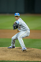 Myrtle Beach Pelicans starting pitcher Jen-Ho Tseng (19) in action against the Winston-Salem Dash at BB&T Ballpark on May 9, 2015 in Winston-Salem, North Carolina.  The Dash defeated the Pelicans 6-1 in the second game of a double-header.  (Brian Westerholt/Four Seam Images)