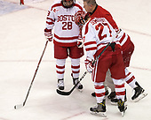Johnny McDermott (BU - 28), Larry Venis (BU - Assistant Director-Athletic Training Services), Jakob Forsbacka Karlsson (BU - 23), Doyle Somerby (BU - 27) - The visiting Merrimack College Warriors defeated the Boston University Terriers 4-1 to complete a regular season sweep on Friday, January 27, 2017, at Agganis Arena in Boston, Massachusetts.The visiting Merrimack College Warriors defeated the Boston University Terriers 4-1 to complete a regular season sweep on Friday, January 27, 2017, at Agganis Arena in Boston, Massachusetts.