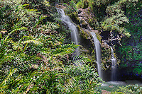 Visitors enjoy swimming at the base of Upper Waikani (or Three Bear) Falls along Hana Highway, Maui.