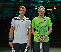 11-02-14, Netherlands,Rotterdam,Ahoy, ABNAMROWTT,Denis Istomin(OEZ) and Ernests Gulbis(LET)<br /> Photo:Tennisimages/Henk Koster