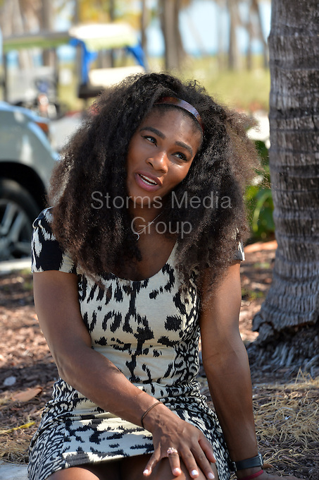 KEY BISCAYNE, FL - APRIL 04: Serena Williams of the United States on Crandon Park beach after her straight sets victory against Carla Suarez Navarro of Spain in the woman's final during the Miami Open at Crandon Park Tennis Center on April 4, 2015 in Key Biscayne, Florida.<br /> <br /> <br /> People:  Serena Williams<br /> <br /> Transmission Ref:  FLXX<br /> <br /> Must call if interested<br /> Michael Storms<br /> Storms Media Group Inc.<br /> 305-632-3400 - Cell<br /> 305-513-5783 - Fax<br /> MikeStorm@aol.com