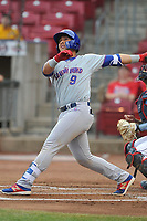 South Bend Cubs catcher Miguel Amaya (9) swings at pitch against the Cedar Rapids Kernels at Veterans Memorial Stadium on May 1, 2018 in Cedar Rapids, Iowa.  (Dennis Hubbard/Four Seam Images)