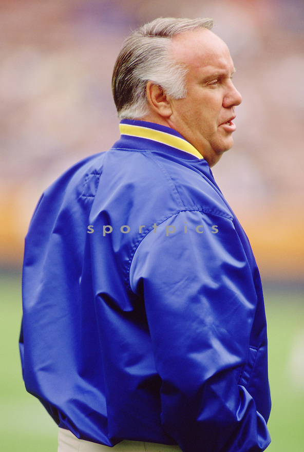 Los Angeles Rams head coach John Robinson during a game from his career with the Los Angeles Rams. Kevin Greene played for 9 years  all with the Los Angeles Rams and compiled a career record of 79-74.