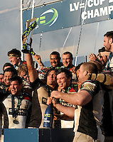 20130317 Copyright onEdition 2013©.Free for editorial use image, please credit: onEdition..Luke Wallace holds the trophy aloft as Harlequins celebrate winning the LV= Cup Final between Harlequins and Sale Sharks at Sixways Stadium on Sunday 17th March 2013 (Photo by Rob Munro)..For press contacts contact: Sam Feasey at brandRapport on M: +44 (0)7717 757114 E: SFeasey@brand-rapport.com..If you require a higher resolution image or you have any other onEdition photographic enquiries, please contact onEdition on 0845 900 2 900 or email info@onEdition.com.This image is copyright onEdition 2013©..This image has been supplied by onEdition and must be credited onEdition. The author is asserting his full Moral rights in relation to the publication of this image. Rights for onward transmission of any image or file is not granted or implied. Changing or deleting Copyright information is illegal as specified in the Copyright, Design and Patents Act 1988. If you are in any way unsure of your right to publish this image please contact onEdition on 0845 900 2 900 or email info@onEdition.com