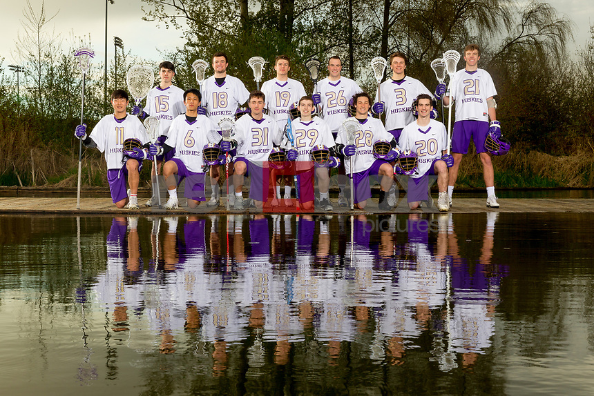 The 2018 University of Washington men's lacrosse team photo on April 18, 2018. (Photography by Scott Eklund/Red Box Pictures)