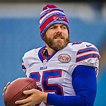 19 October 2014: Buffalo Bills long snapper Garrison Sanborn warms up prior to facing the Minnesota Vikings at Ralph Wilson Stadium in Orchard Park, NY. The Bills defeated the Vikings 17-16 in a dramatic, last minute, comeback touchdown drive. Mandatory Credit: Ed Wolfstein Photo *** RAW (NEF) Image File Available ***